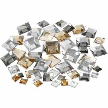 Decoratie vierkante plak diamantjes zilver mix