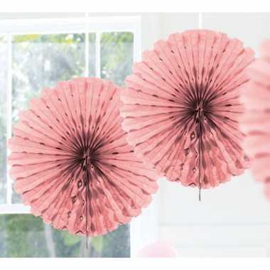Decoratie waaiers licht roze 45 cm