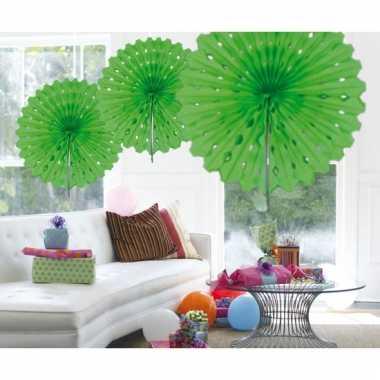 Decoratie waaiers lime groen 45 cm