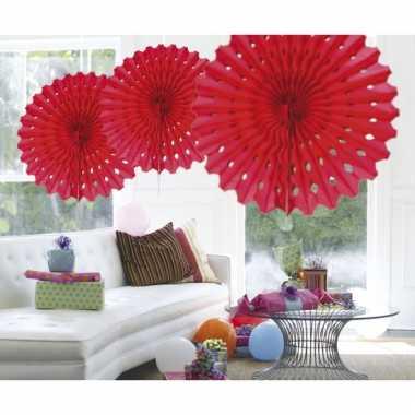 Decoratie waaiers rood 45 cm