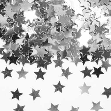 Decoratie zilveren sterretjes confetti zakje