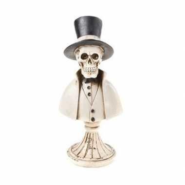 Decoratiebeeldje halloween skelet met hoge hoed