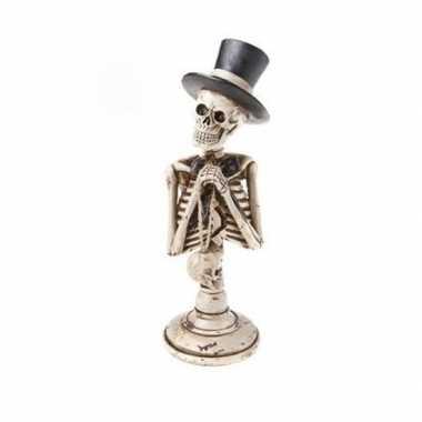 Decoratiebeeldje skelet met hoge hoed