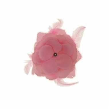 Decoratiebloem met elastiek baby roze 10cm