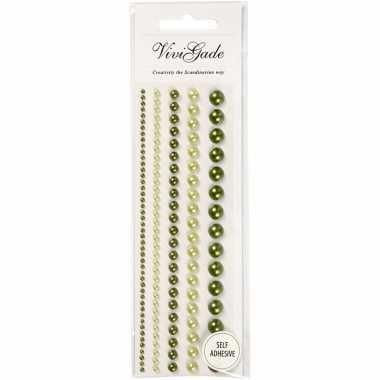 Decoratieve groene parel stickers 140 stuks