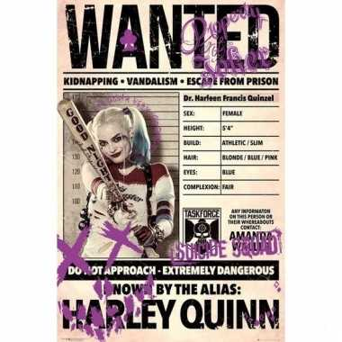 Deurposter suicide squad harley quinn wanted 61x91cm