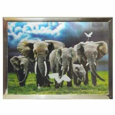 Dieren 3d poster in lijst olifanten