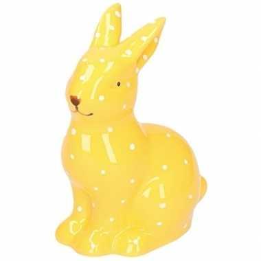 Dieren beeld geel konijntje/haasje 10 cm