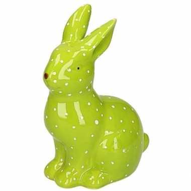 Dieren beeld groen konijntje/haasje 15 cm