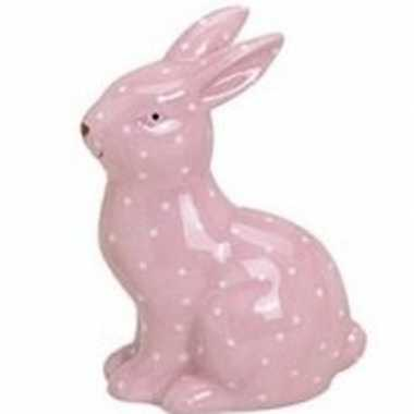 Dieren beeld roze konijntje/haasje 10 cm