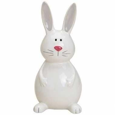 Dieren beeld wit zittend konijntje/haasje 18 cm