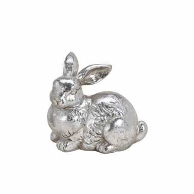 Dieren beeld zilverkleurig liggend konijntje/haasje 12 cm
