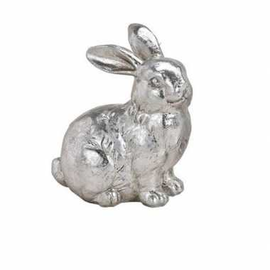 Dieren beeld zilverkleurig zittend konijntje/haasje 12 cm