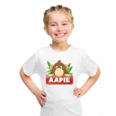 Dieren shirt wit aapie het aapje voor kinderen