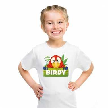 Dieren shirt wit birdy de papegaai voor kinderen
