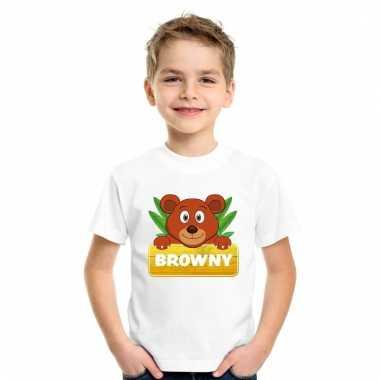 Dieren shirt wit browny de beer voor kinderen