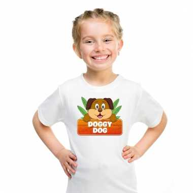 Dieren shirt wit doggy dog de hond voor kinderen