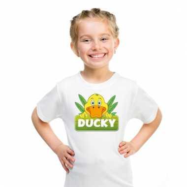 Dieren shirt wit ducky de eend voor kinderen