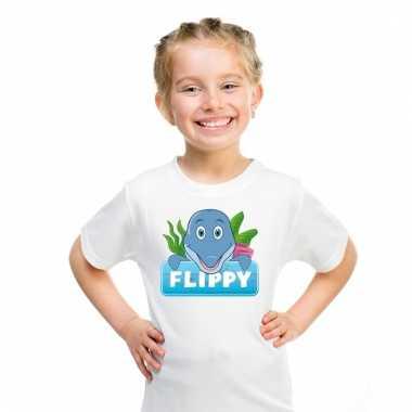 Dieren shirt wit flippy de dolfijn voor kinderen