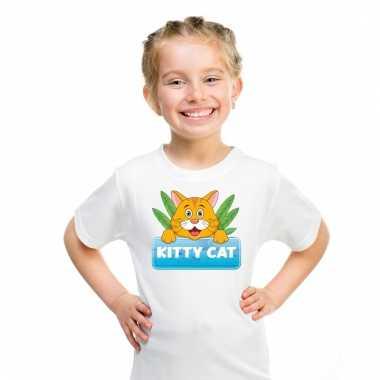 Dieren shirt wit kitty cat de kat voor kinderen