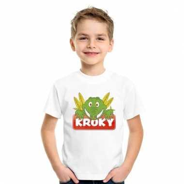 Dieren shirt wit kroky de krokodil voor kinderen