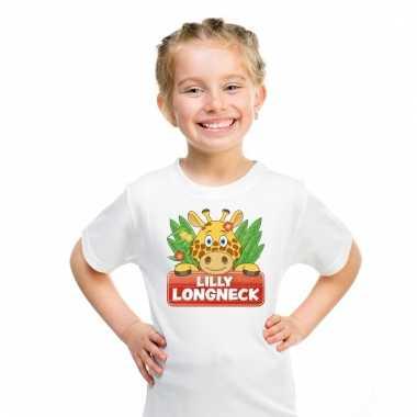 Dieren shirt wit lilly longneck de giraffe voor kinderen