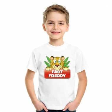 Dieren shirt wit luipaard fast freddy voor kinderen