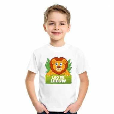 Dieren shirt wit met leo de leeuw voor kinderen