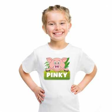Dieren shirt wit met pinky de big voor kinderen