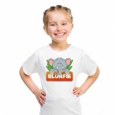 Dieren shirt wit met slurfie de olifant voor kinderen
