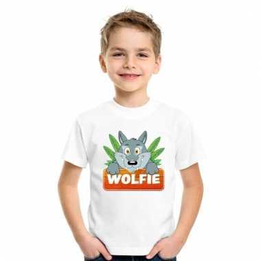 Dieren shirt wit met wolfie de wolf voor kinderen