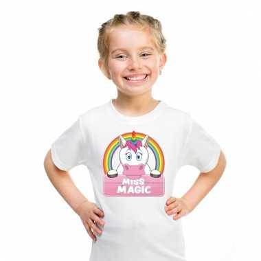 Dieren shirt wit miss magic de eenhoorn voor meisjes
