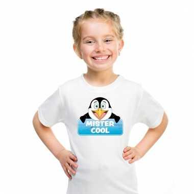 Dieren shirt wit mister cool de pinguin voor kinderen