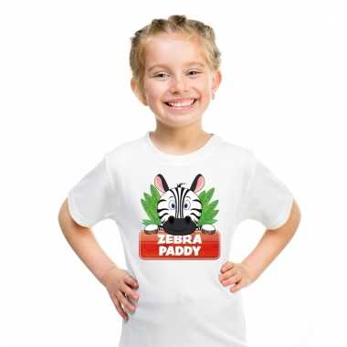Dieren shirt wit paddy de zebra voor kinderen