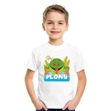 Dieren shirt wit plons de kikker voor kinderen