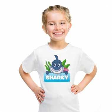 Dieren shirt wit sharky de haai voor kinderen