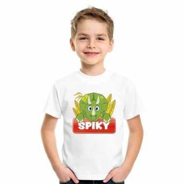 Dieren shirt wit spiky de dinosaurus voor kinderen