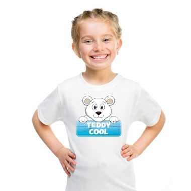 Dieren shirt wit teddy cool de ijsbeer voor kinderen
