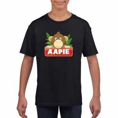 Dieren shirt zwart aapie het aapje voor kinderen