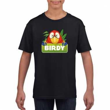 Dieren shirt zwart birdy de papegaai voor kinderen