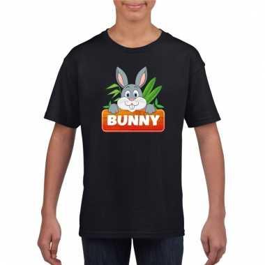 Dieren shirt zwart bunny het konijn voor kinderen
