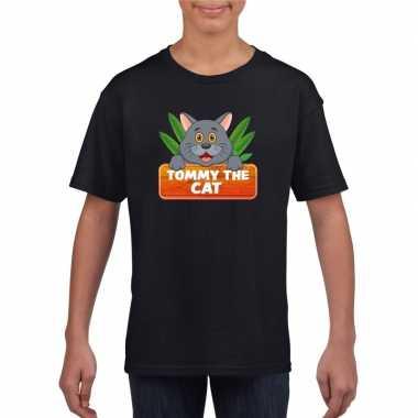 Dieren shirt zwart kitty cat de kat voor kinderen