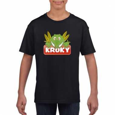 Dieren shirt zwart kroky de krokodil voor kinderen