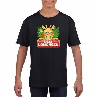 Dieren shirt zwart lilly longneck de giraffe voor kinderen