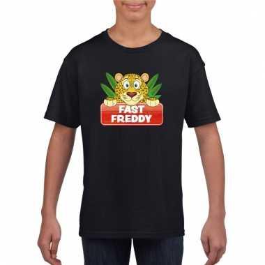 Dieren shirt zwart luipaard fast freddy voor kinderen
