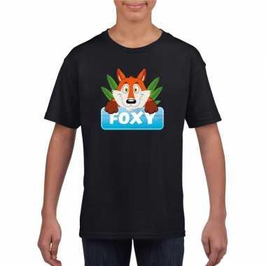 Dieren shirt zwart met foxy de vos voor kinderen
