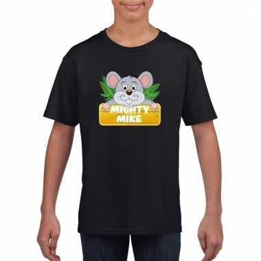 Dieren shirt zwart met muis mighty mike voor kinderen