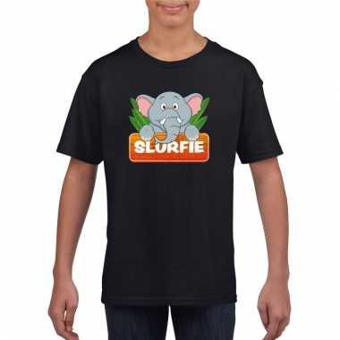Dieren shirt zwart met slurfie de olifant voor kinderen