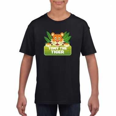 Dieren shirt zwart met tony the tiger voor kinderen