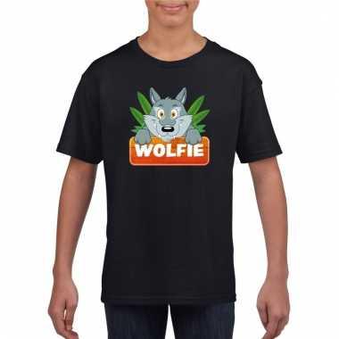 Dieren shirt zwart met wolfie de wolf voor kinderen